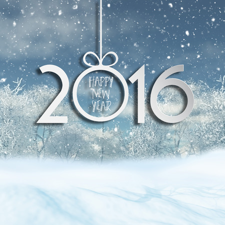 snow drifts: Happy New Year background with a 3D render of a snowy landscape
