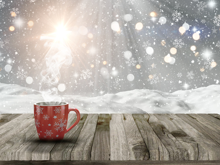 deck: 3D render of a Christmas mug on a wooden table with a snowy scene in the background