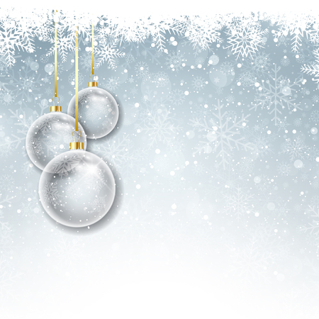 snowy: Christmas decorations on a snowy background Stock Photo