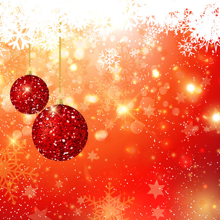holiday background: Hanging Christmas glitter baubles on bokeh lights background Stock Photo