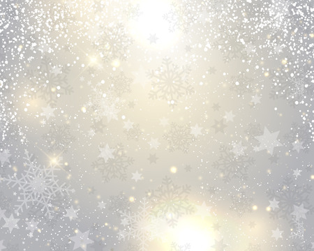 snow background: Decorative Christmas background with snowflakes and stars