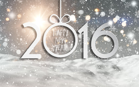 new year tree: Happy New Year background with a 3D render of a snowy landscape