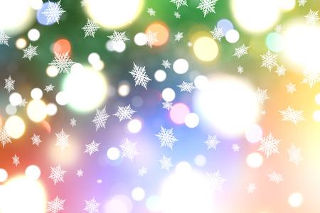bokeh lights: Christmas background of snowflakes and bokeh lights