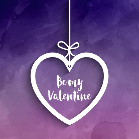 watercolour background: Hanging heart on a purple watercolour background