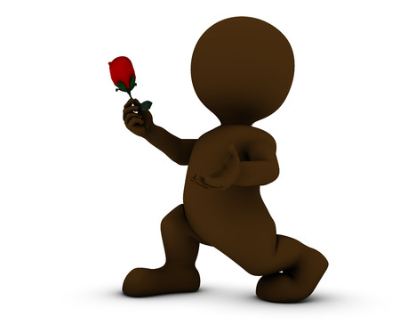 morph: 3D Render of Morph Man with Rose