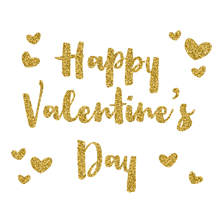 valentines day: Happy Valentines Day background with gold glitter text Stock Photo