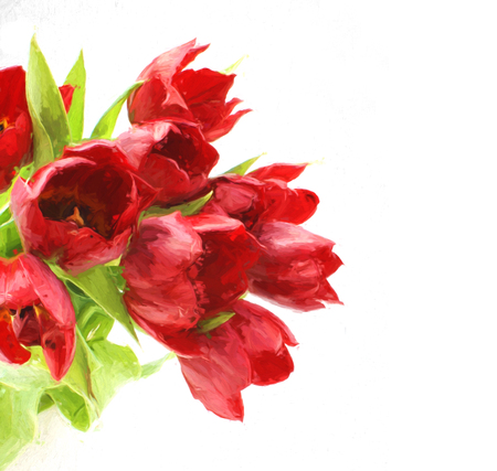 painted image: Oil painted image of red tulips