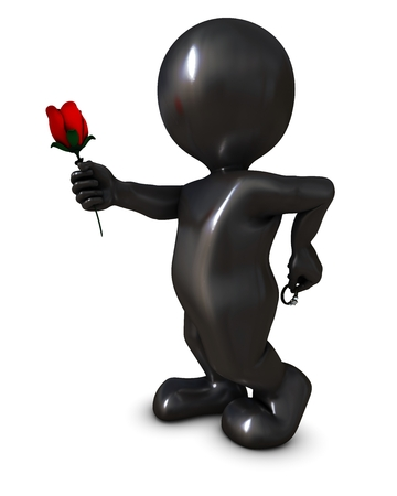 morph: 3D Render of a Morph Man with rose and ring
