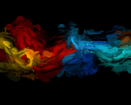 abstract swirl: Colourful oil paint strokes on a black background