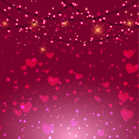 Valentines Day background with pink hearts and lights design Stock Photo