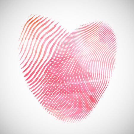 be the identity: Valentines Day background with watercolor heart shape of fingerprints