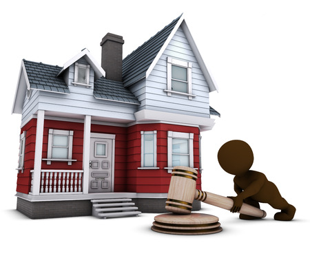 morph: 3D Render of Morph Man with house and gavel