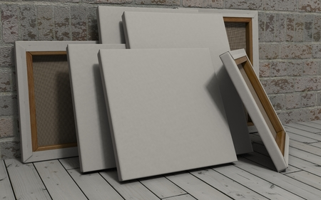 exposed: 3d render of an Blank Canvas on exposed brick wall Stock Photo