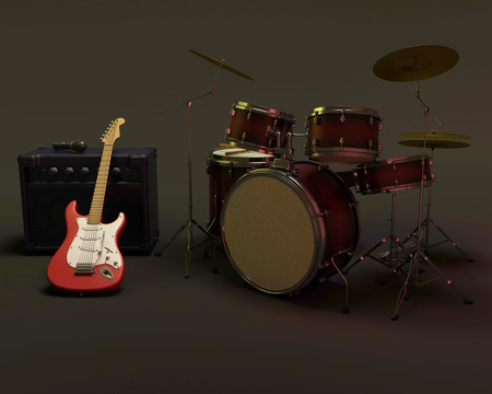 amp: 3d render of a guitar amplifier and drum kit