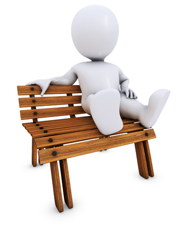 benches: 3D Render of Morph Man on park bench Stock Photo