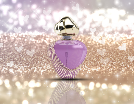 glittery: 3D render of a perfume bottle on a glittery background with stars and bokeh lights