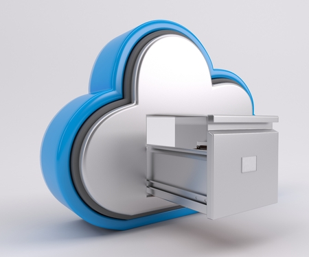 web application: 3D Render of Cloud Drive Icon Stock Photo
