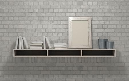 render: 3d render of a white interior bookshelf Stock Photo
