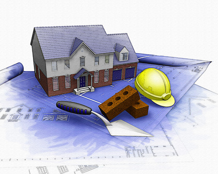 house illustration: 3D render of a house under construction with a watercolour effect