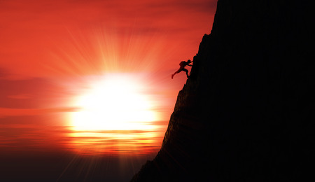 free range: 3D render of an extreme rock climber against a sunset sky