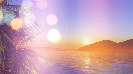 sunset beach: 3D render of palm trees against a sunset sea with retro effect Stock Photo