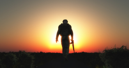military training: 3D render of a sodier walking with his head down at sunset