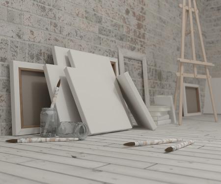 3D Render of an Artist Studio 版權商用圖片 - 51663534