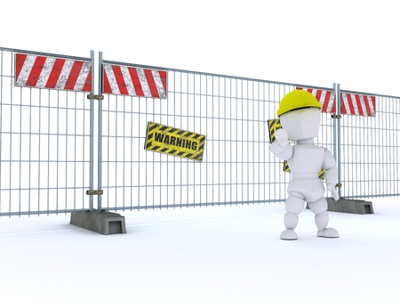 businness: 3D render of a man with construction barrier fence