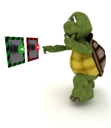 deciding: 3D Render of a Tortoise deciding which button to push Stock Photo