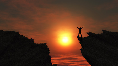arms outstretched: 3D render of a man stood on a mountain top with arms outstretched