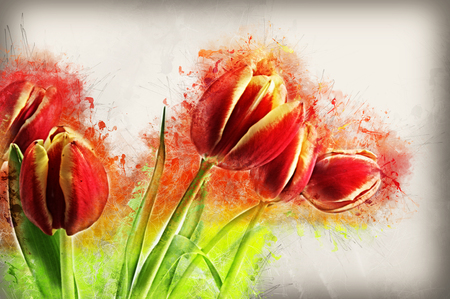 abstract flowers: Grunge style image of red tulips