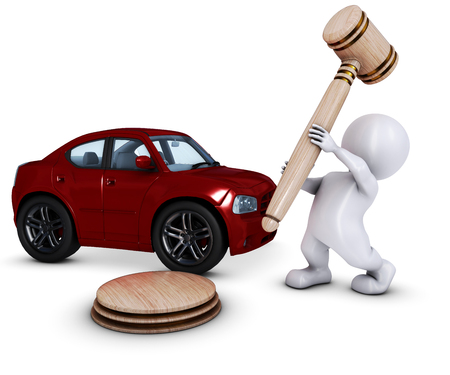 morph: 3D Render of Morph Man with car and gavel