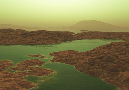 alien landscape: 3D render of an alien landscape Stock Photo