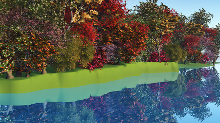 riverside trees: 3D render of colourful trees and bushes at a riverside