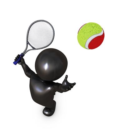 balones deportivos: Renderizado 3D de Morph Hombre que juega al tenis Foto de archivo
