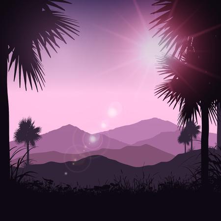 Silueta de palmeras en un paisaje tropical