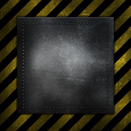 rivet: Detailed abstract metallic background with scratches and stains and yellow and black warning stripes Stock Photo