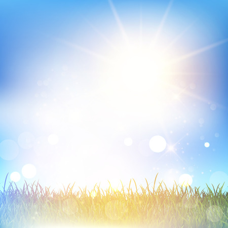 grassy: Grassy landscape against a blue sky with a retro effect Stock Photo