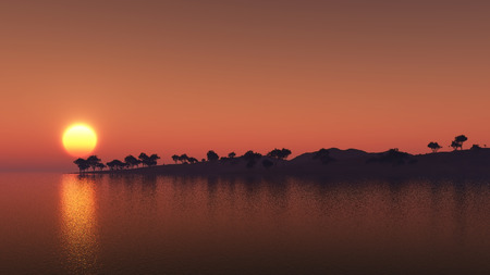3D render of an island of trees against a sunset sky