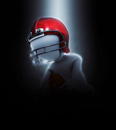 sport man: 3D render of a figure in dramatic American football image