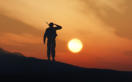 3d render of a silhouette of a soldier saluting against a sunset sky stock photo