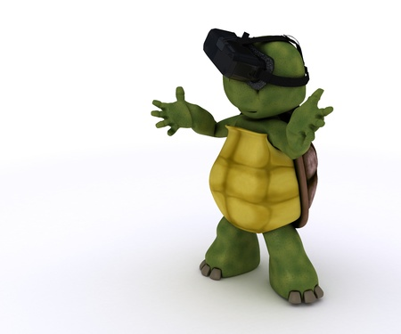 TORTOISE: 3D render of a tortoise with VR headset Stock Photo