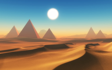 arid: 3D render of an arid desert scene with pyramids