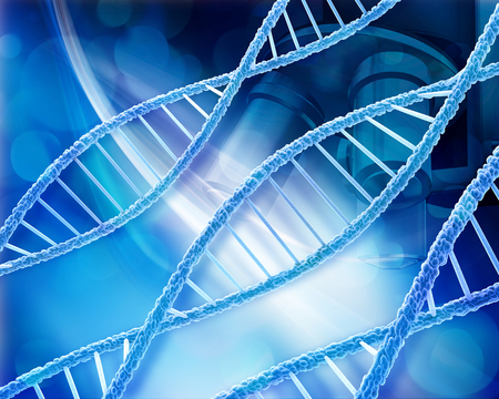 microcosmic: Abstract medical background with DNA strands and microscope Stock Photo