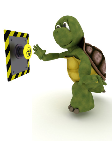 carapace: 3D Render of a Tortoise pushing a button Stock Photo
