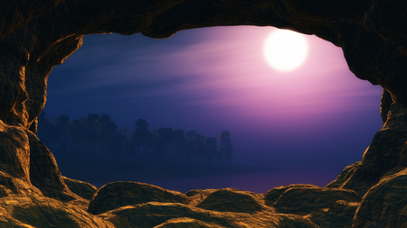 3D render of a view from a cave looking out to a sunset sea with palm tree island