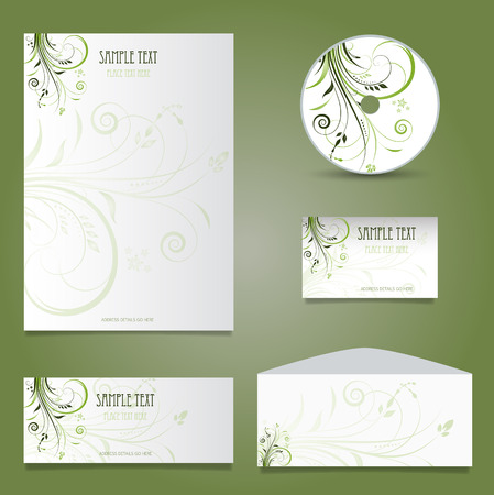 business abstract: Decorative business stationery mock up with floral design Stock Photo