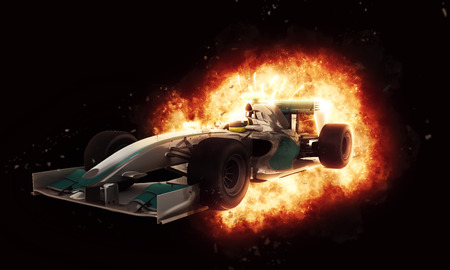 불타는 폭발 효과와 레이싱 자동차의 3D 렌더링 스톡 콘텐츠