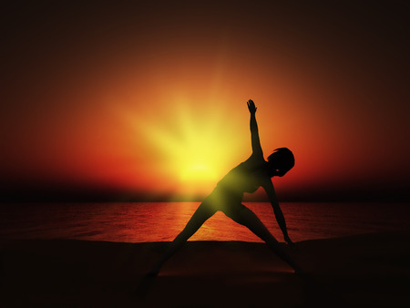 yoga sunset: 3D render of a female in a yoga pose against a sunset sea Stock Photo