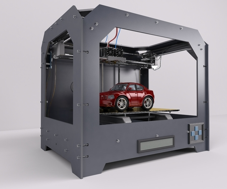 maker: 3D Render of 3 Dimensional  Printer Stock Photo